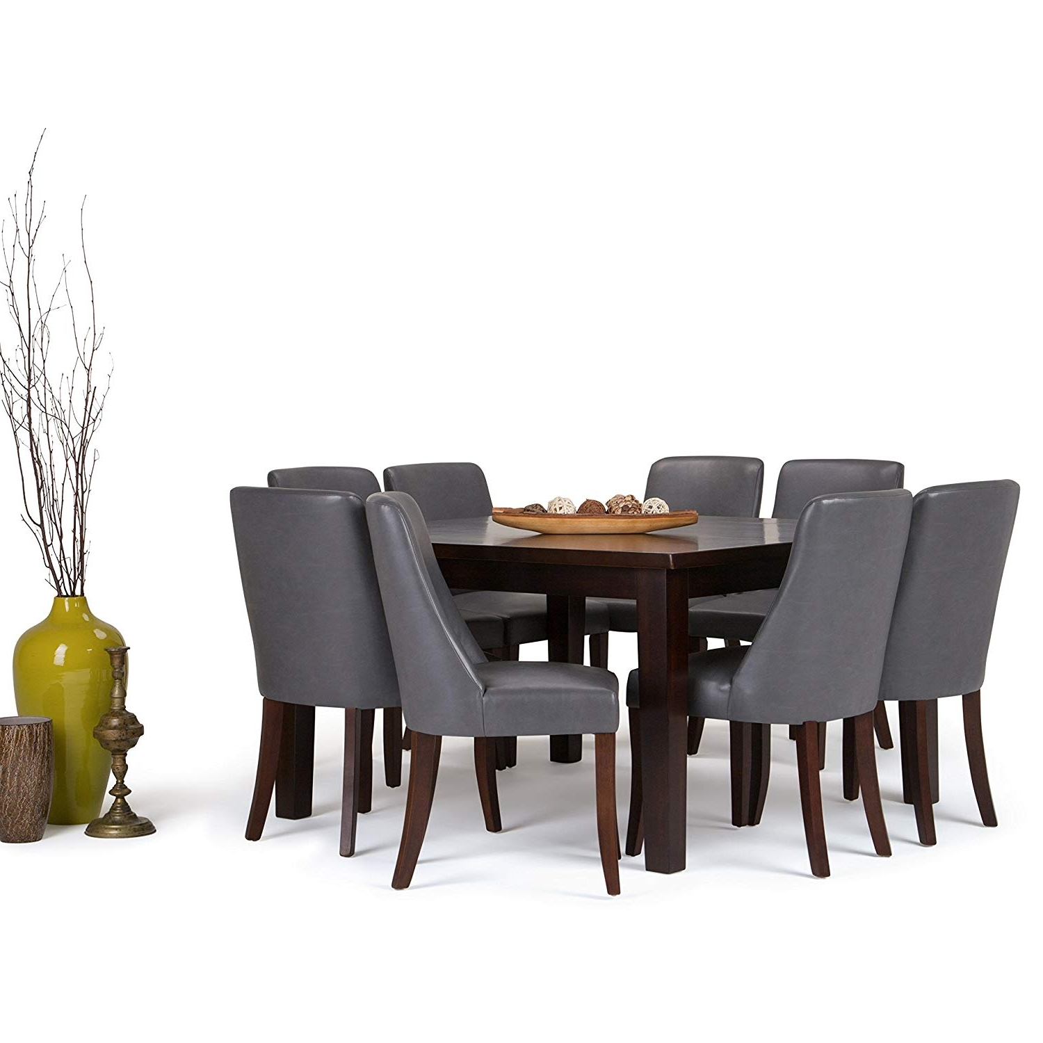 Amazon: Simpli Home Walden 9 Piece Dining Set, Stone Grey Intended For Trendy Walden 9 Piece Extension Dining Sets (View 15 of 25)