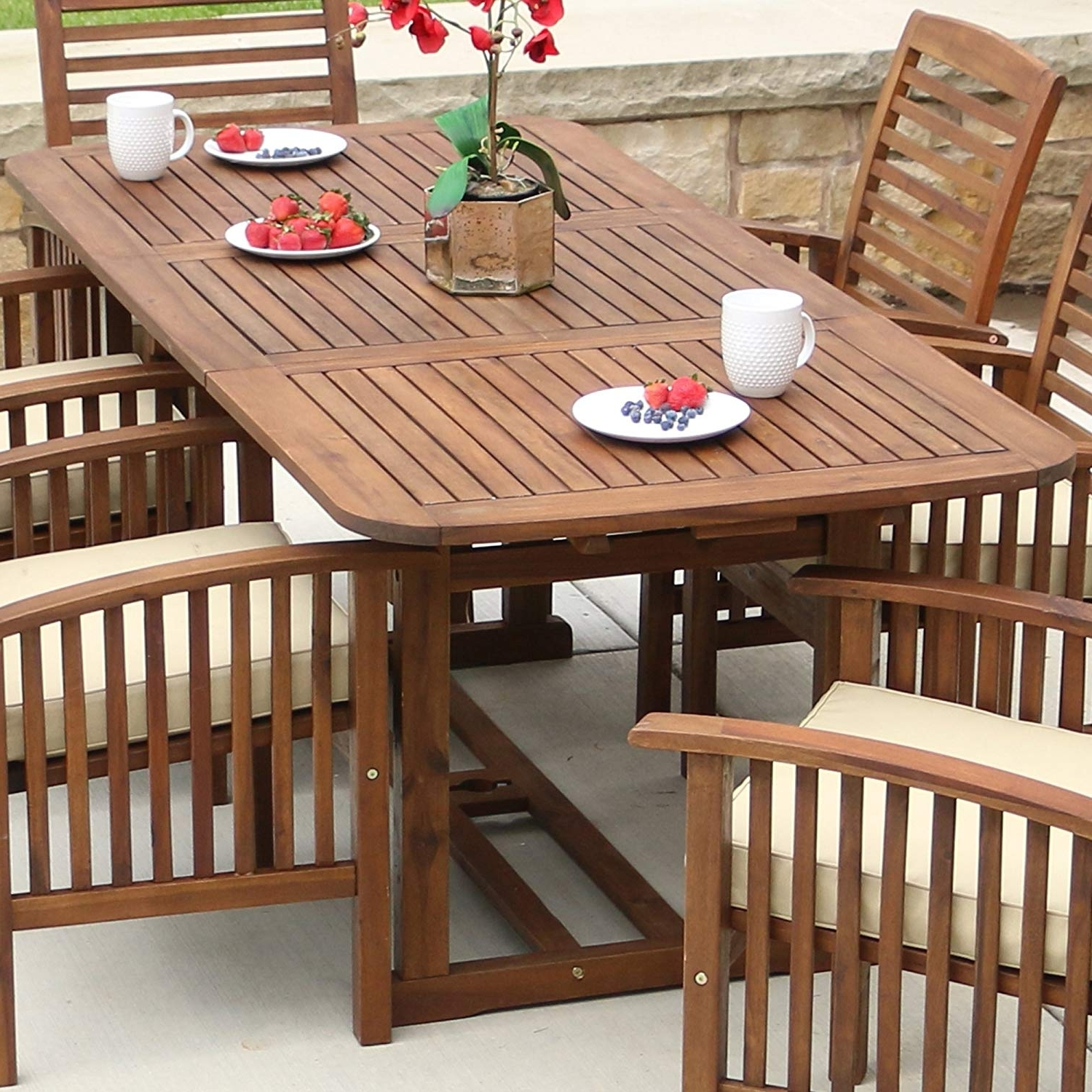 Amazon : We Furniture Solid Acacia Wood Patio Extendable Dining Inside 2018 Acacia Dining Tables (View 12 of 25)