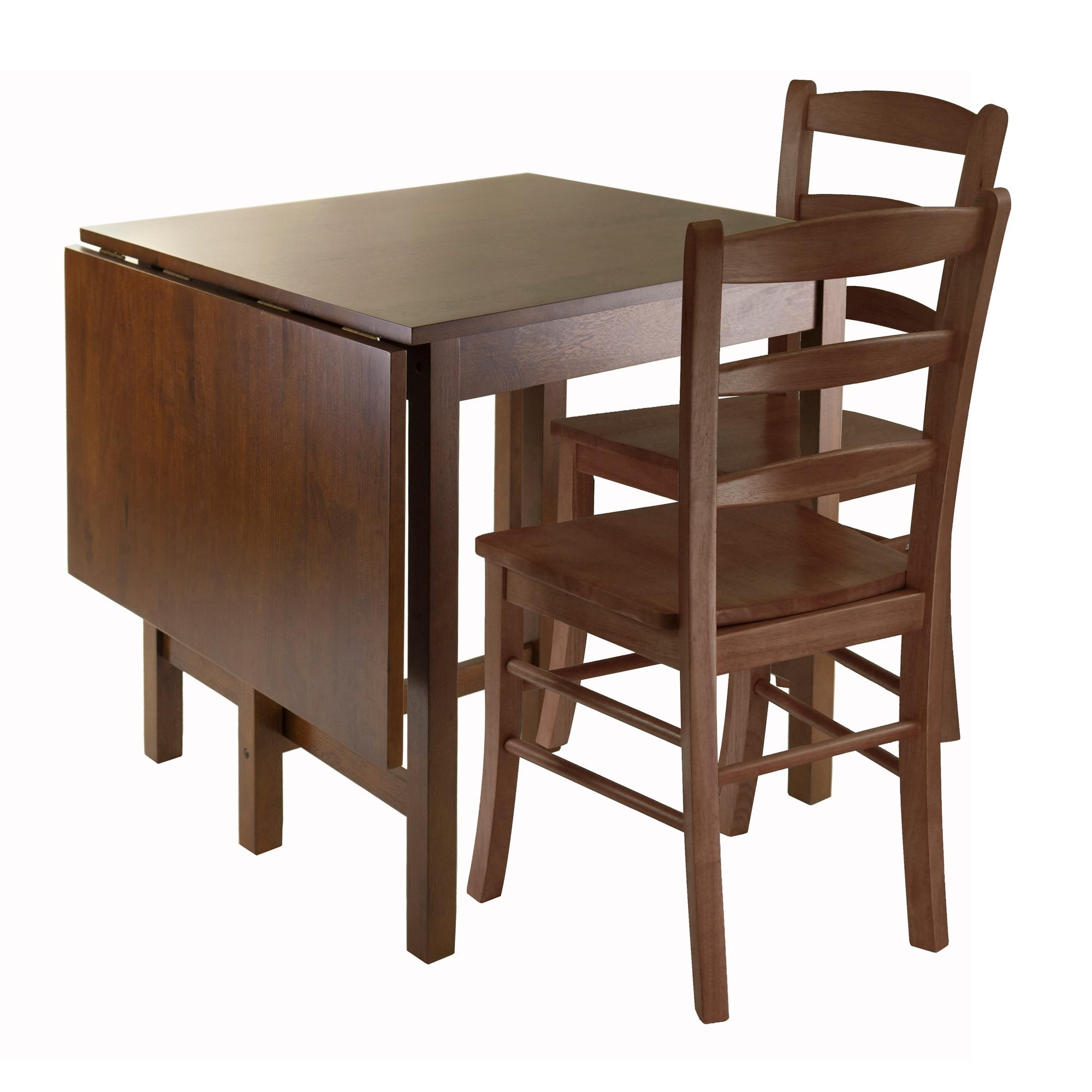 Amazon – Winsome Lynden 3 Piece Dining Table With 2 Ladder Back With Regard To Trendy Small Dining Tables For  (View 3 of 25)