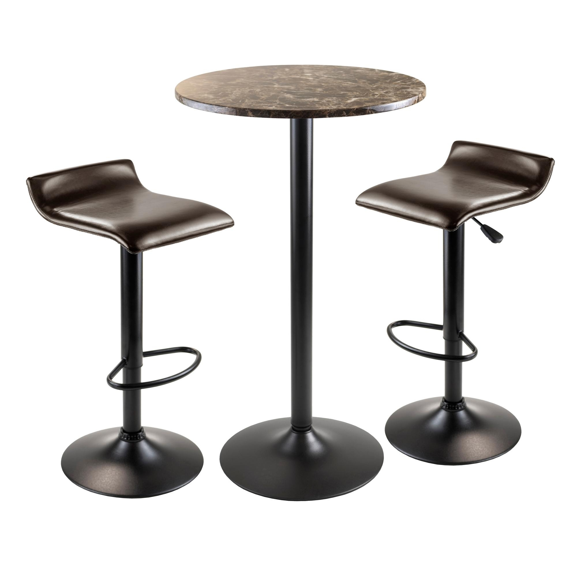 Amazon: Winsome Wood Cora 3 Piece Round Pub Table With 2 Swivel Intended For Latest Cora 7 Piece Dining Sets (View 5 of 25)