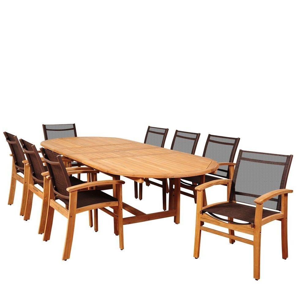 Amazonia Elliot 9 Piece Teak Double Extendable Oval Patio Dining Set With Newest Outdoor Brasilia Teak High Dining Tables (View 10 of 25)