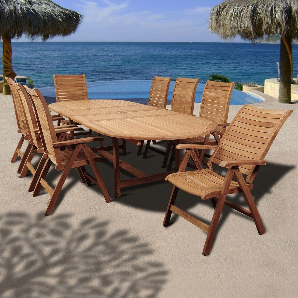 Amazonia Irving 9 Piece Teak Double Extendable Oval Patio Dining Set Pertaining To Latest Outdoor Brasilia Teak High Dining Tables (Gallery 12 of 25)