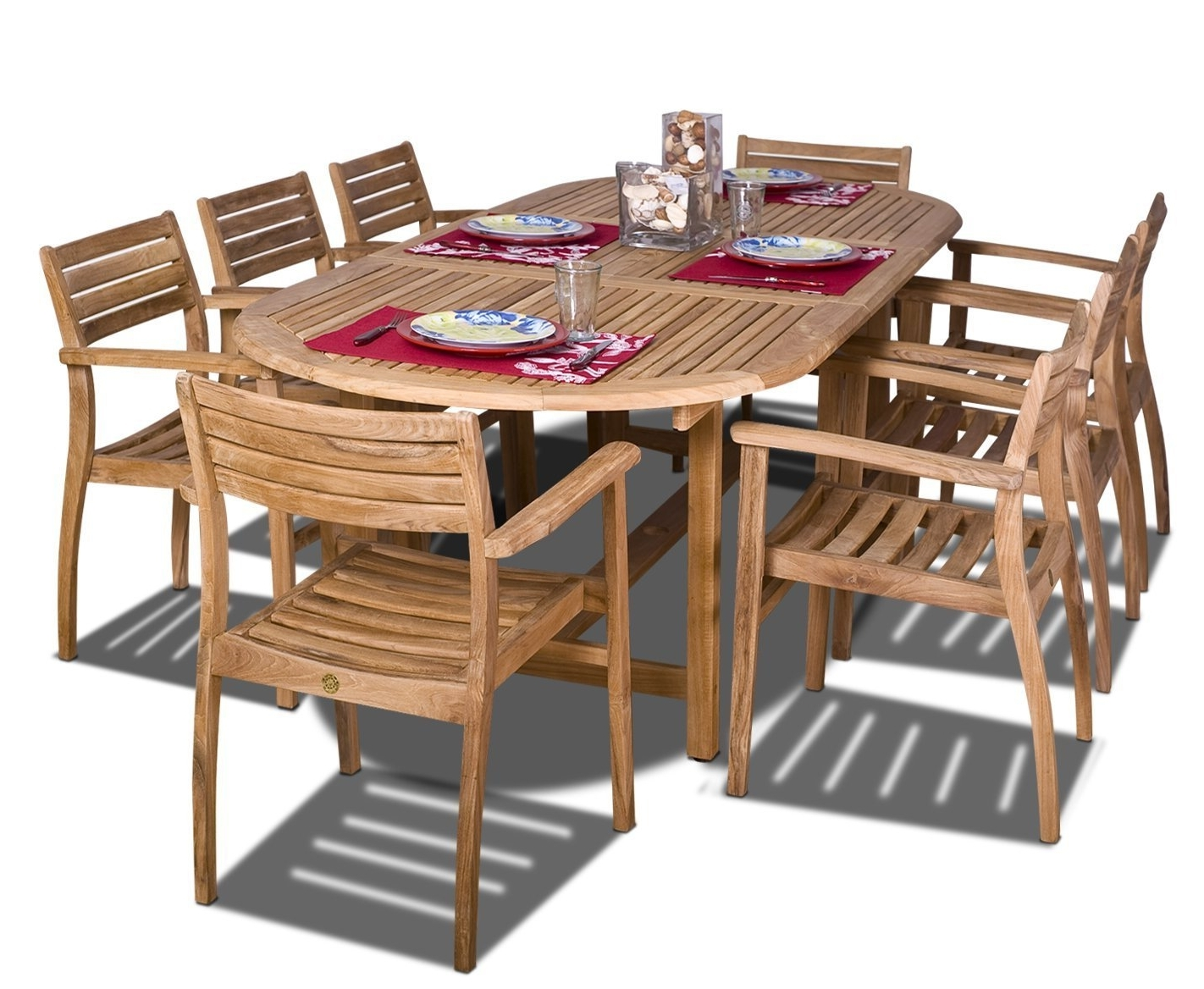 Amazonia Oval Coventry Teak Dining Set Inside Fashionable Craftsman 9 Piece Extension Dining Sets (View 17 of 25)