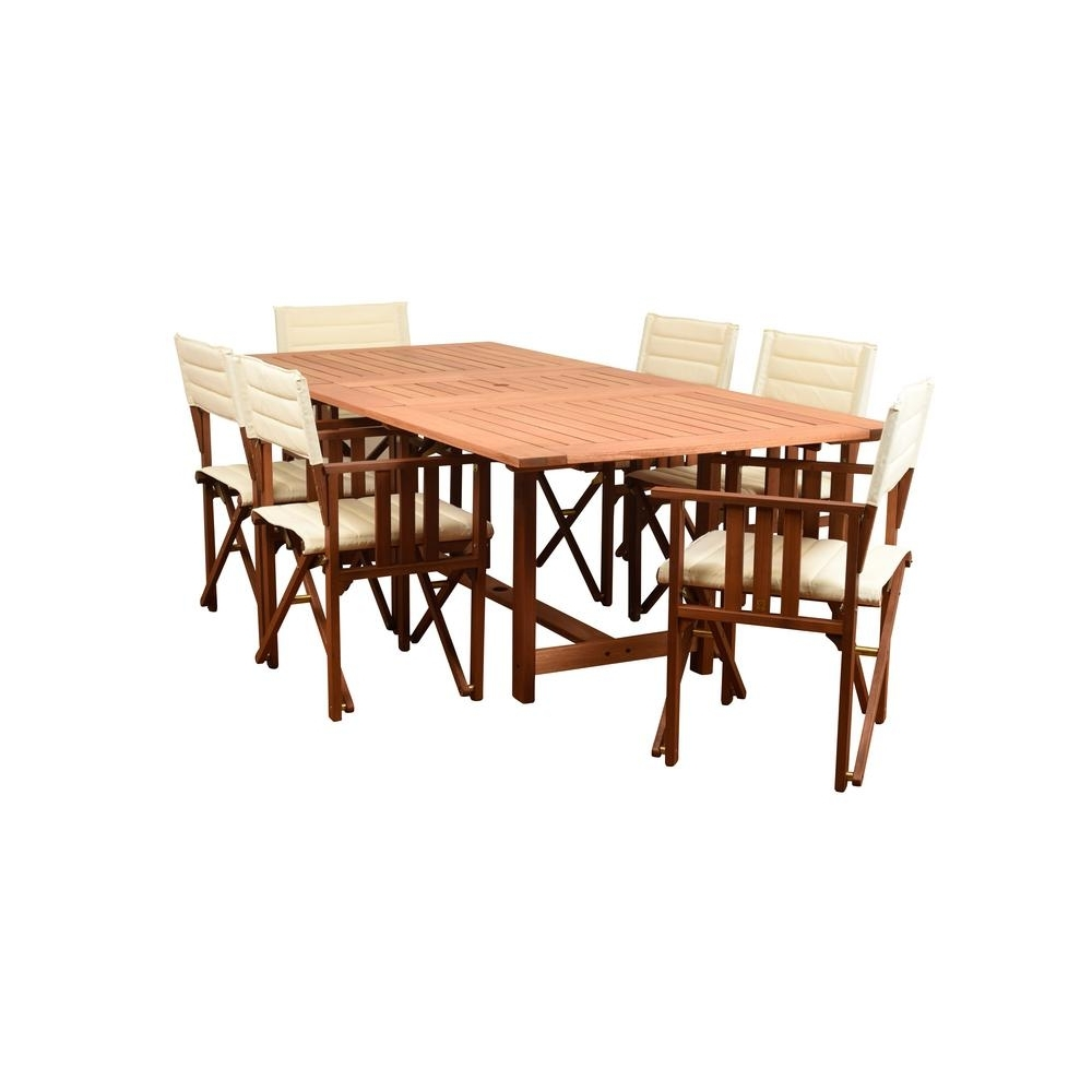 Amazonia Rio 7 Piece Wood Rectangular Outdoor Dining Set Intended For Preferred Rio Dining Tables (View 2 of 25)
