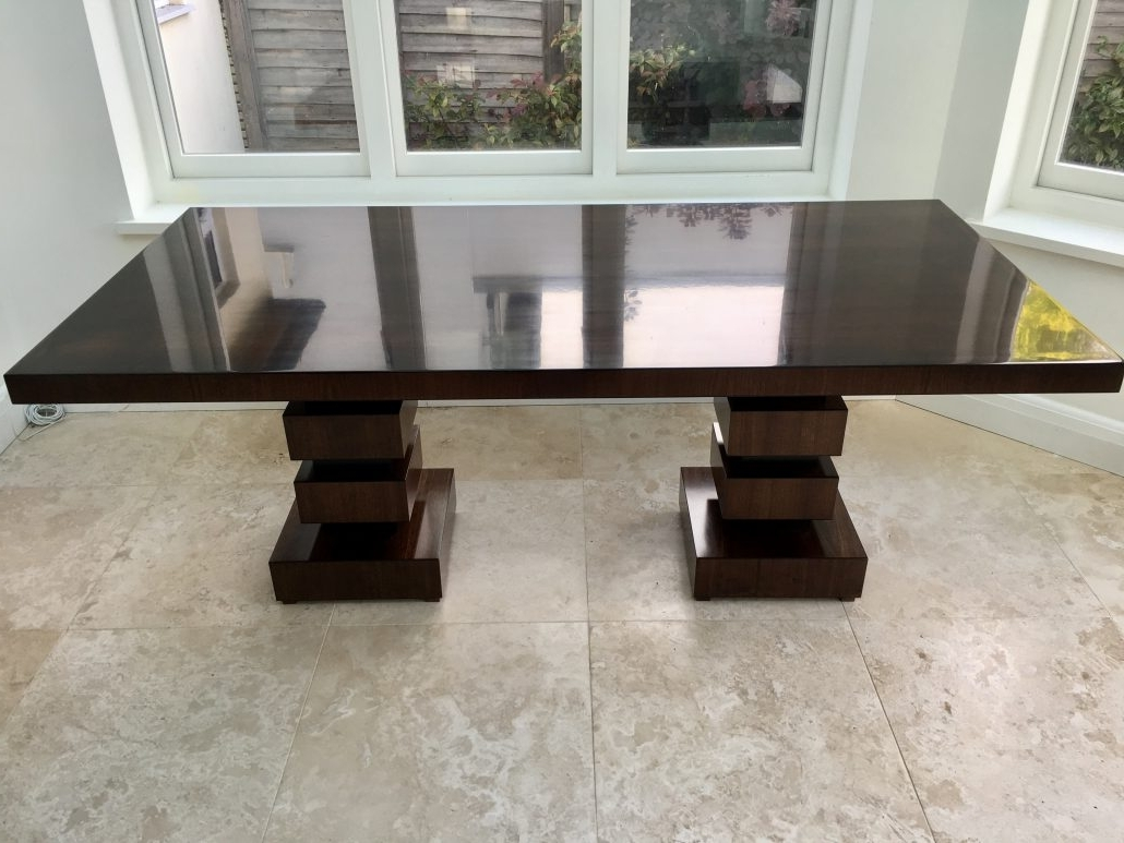 American Black Walnut 6 8 Seater Dining Table With High Gloss Finish With Most Up To Date 8 Seater Black Dining Tables (View 9 of 25)