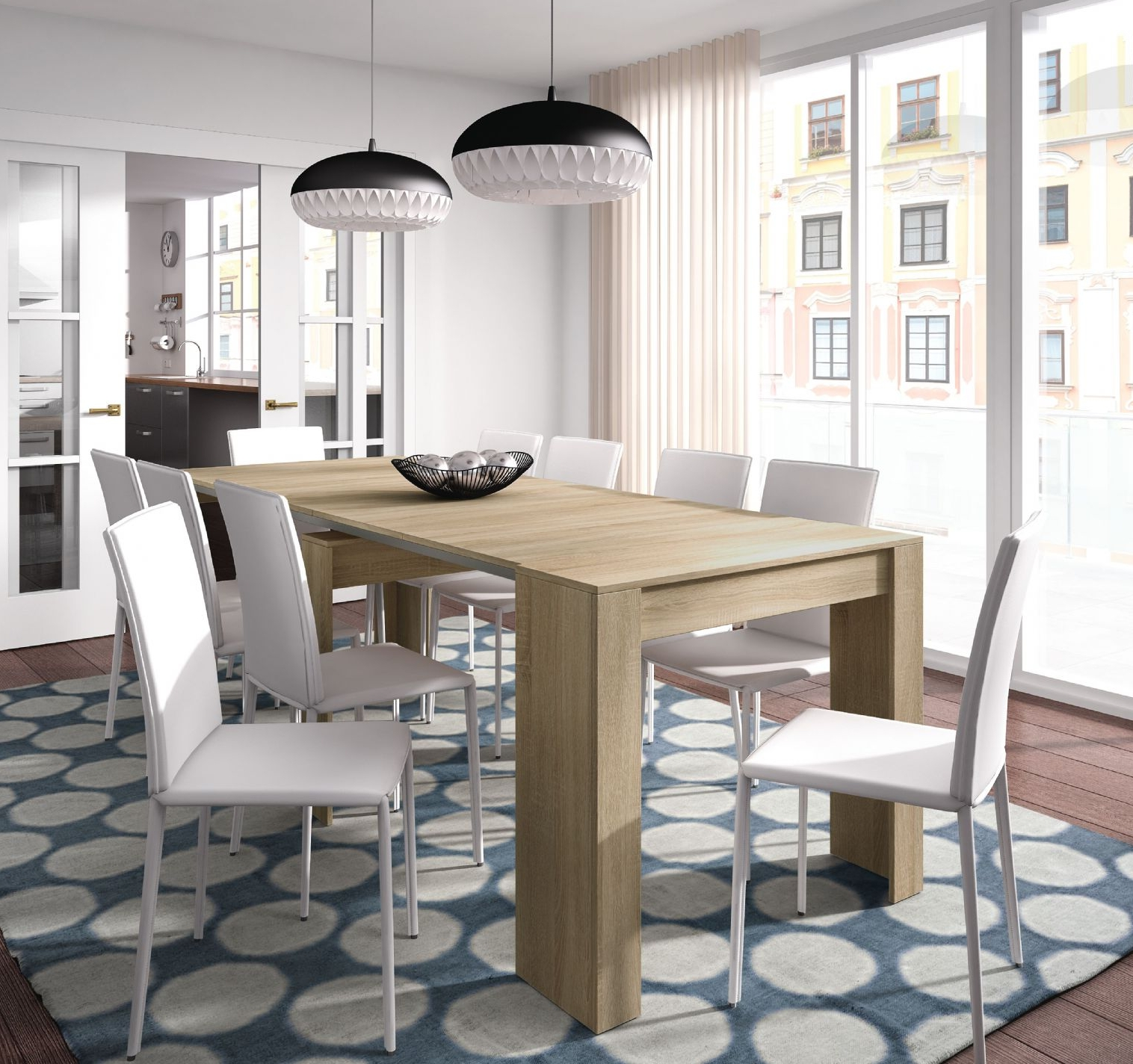 Amos Extension Dining Tables With Regard To Newest Luiz Extending Dining Table Oak Effect –  (View 11 of 25)