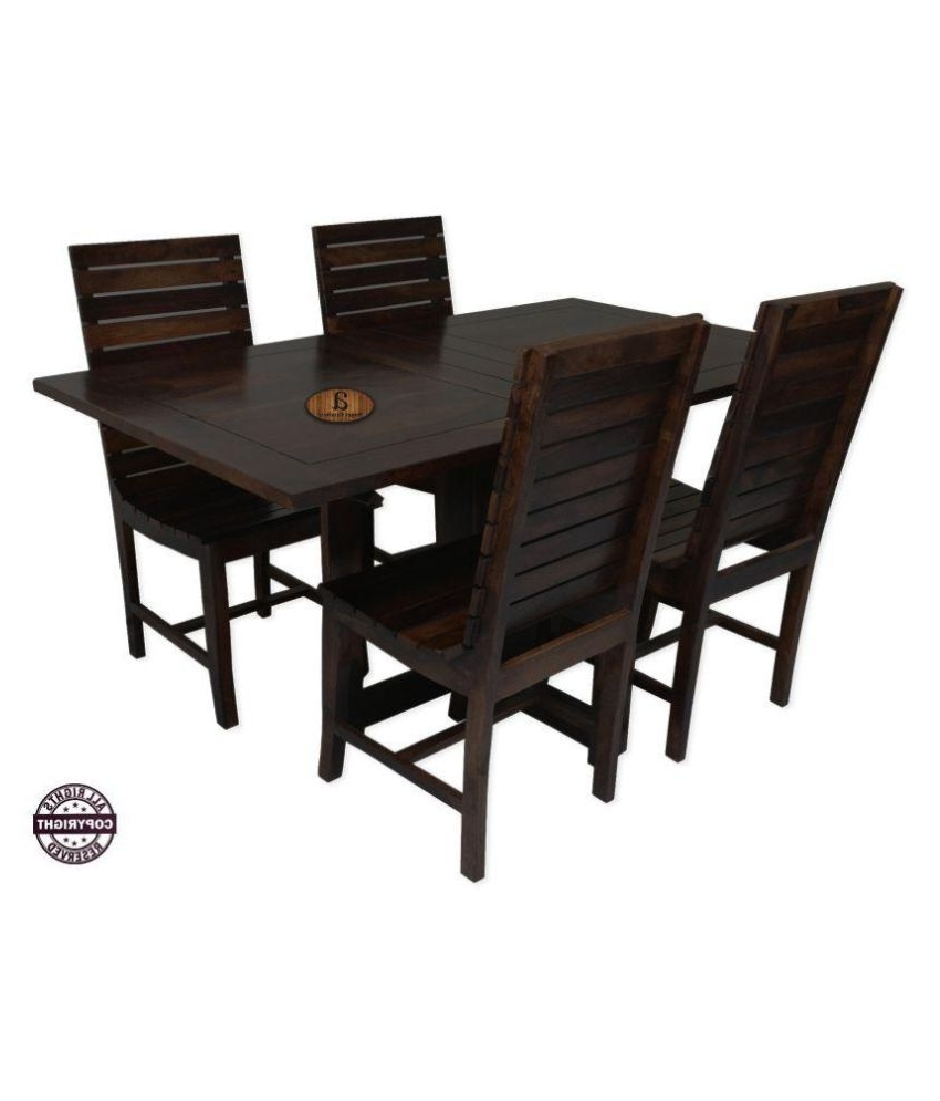 Angel's Modish Solid Sheesham Wood Dining Table Set (Walnut Finish Inside Well Known Sheesham Wood Dining Tables (View 14 of 25)