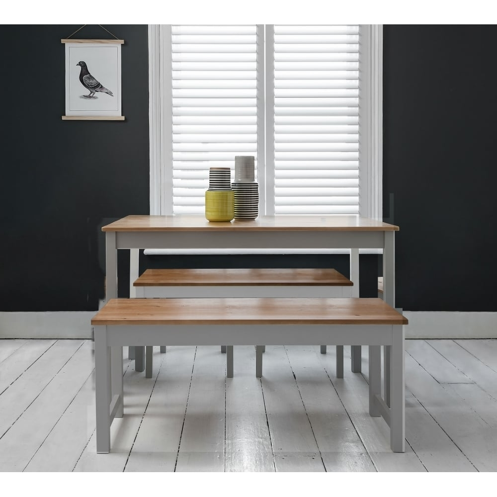 Annika Dining Table With 2 Benches In Silk Grey & Natural Pine – For With Best And Newest Dining Tables And 2 Benches (View 2 of 25)
