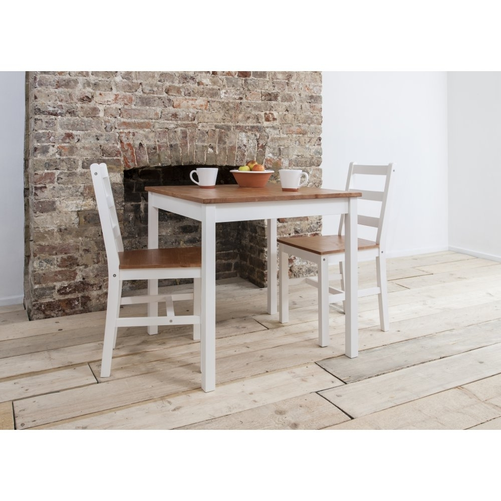 Annika Dining Table With 2 Chairs In Natural & White (Gallery 2 of 25)