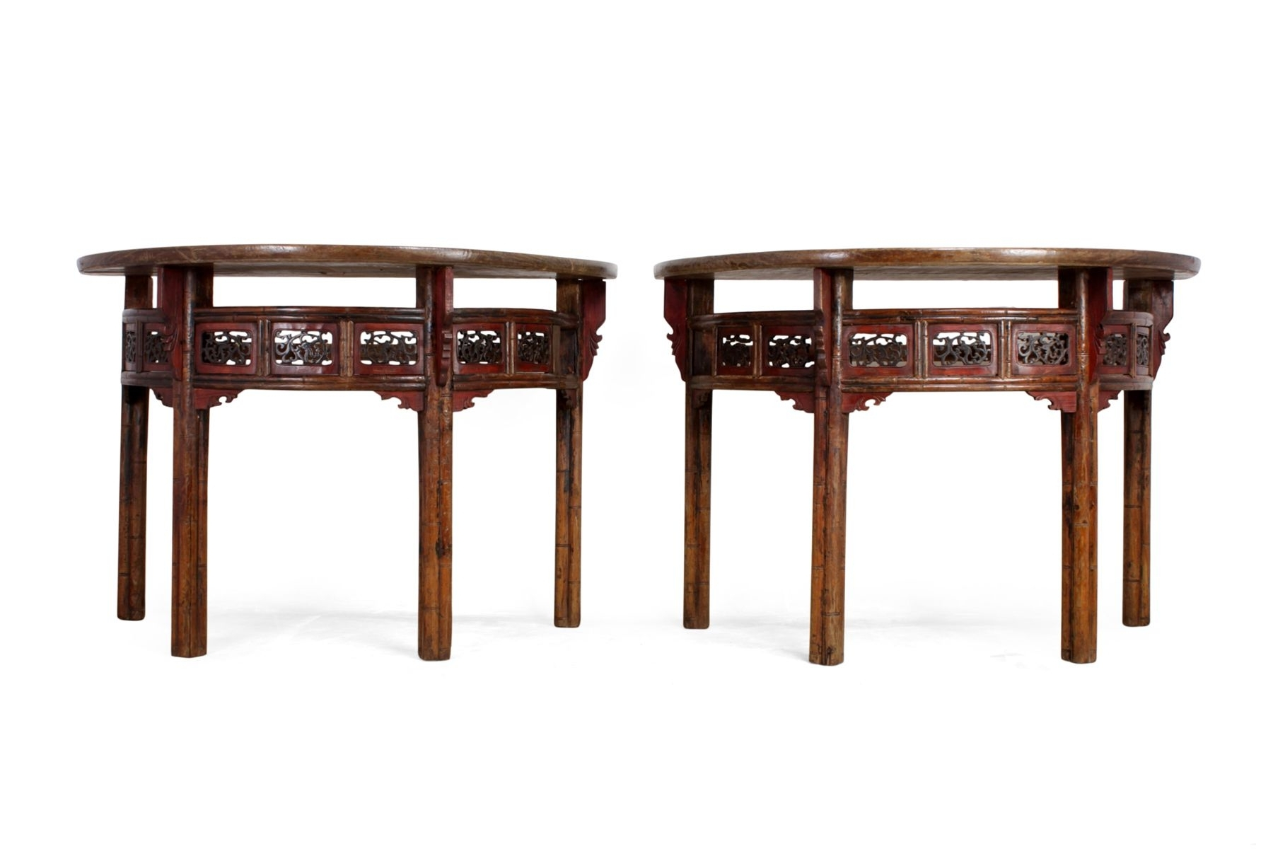 Antique Chinese Half Moon Console Tables, Set Of 2 For Sale At Pamono Regarding Trendy Half Moon Dining Table Sets (View 22 of 25)