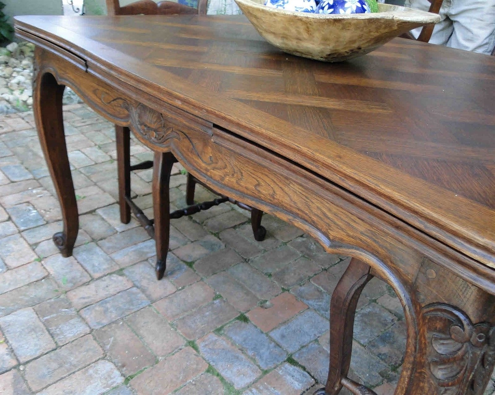 Antique Country French Oak Dining Table With Draw Leaf And Lovely Inside Trendy Parquet Dining Tables (View 24 of 25)