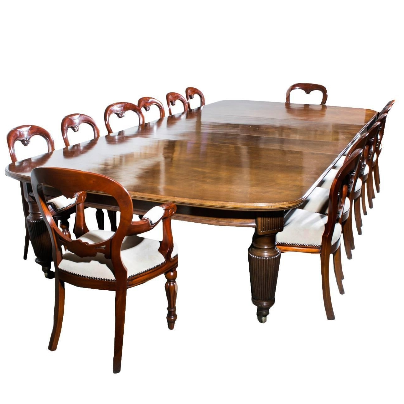 Antique Extending Dining Table 14 Chairs, Circa 1880 Within Trendy Oval Extending Dining Tables And Chairs (View 1 of 25)