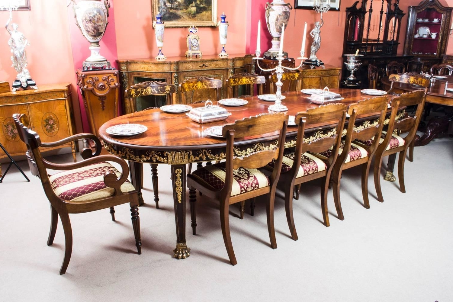Antique Flame Mahogany Ormolu Dining Table And Ten Chairs At 1Stdibs For Popular Dining Table And 10 Chairs (Gallery 23 of 25)