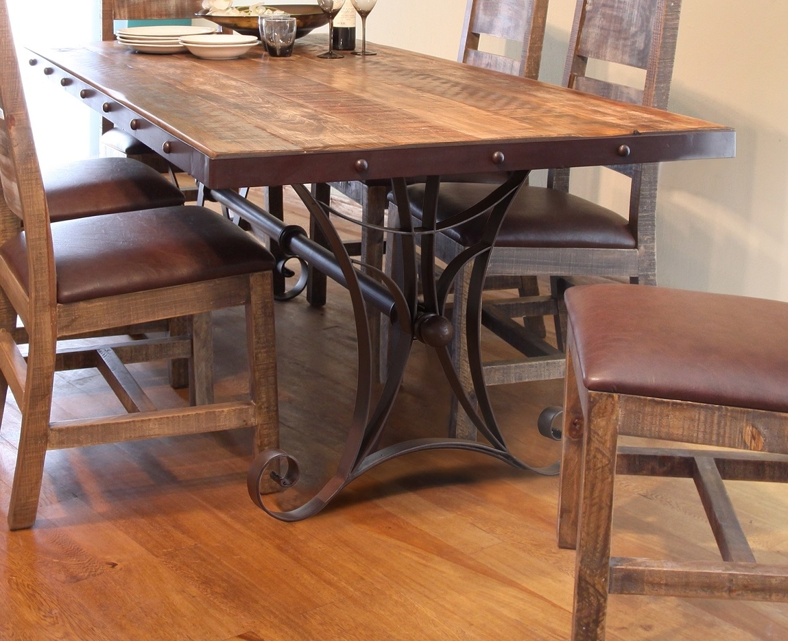 """Antique Multicolor 79"""" Dining Table With Iron Base For Best And Newest Iron And Wood Dining Tables (Gallery 10 of 25)"""