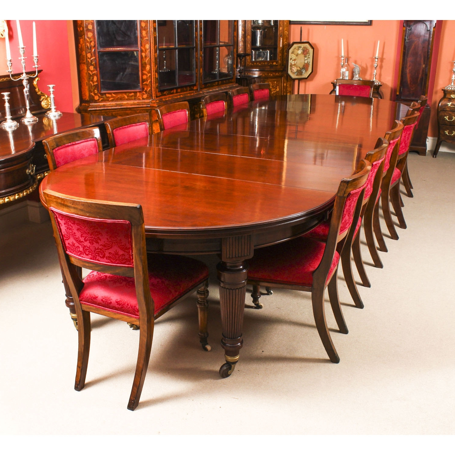 Antique Victorian Circular Extending Dining Table & 14 Chairs 19Th C Intended For Most Recent Circular Extending Dining Tables And Chairs (View 4 of 25)