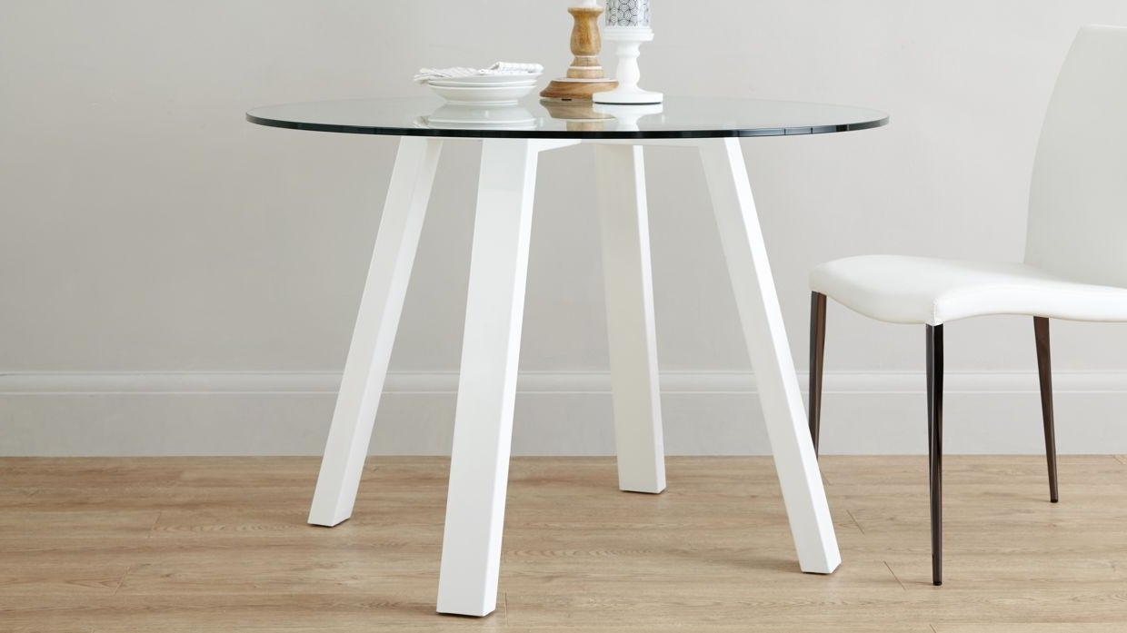 Arc Round 4 Seater Glass And White Gloss Dining Table £ (View 2 of 25)