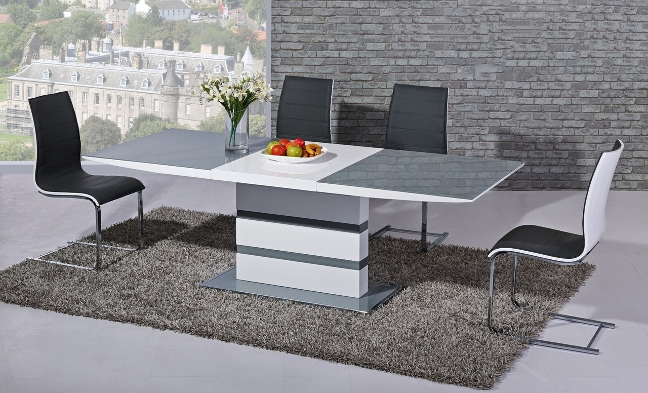 Arctic Grey And White High Gloss Small Extending Dining Table Dtx For Widely Used White Gloss Extending Dining Tables (View 25 of 25)