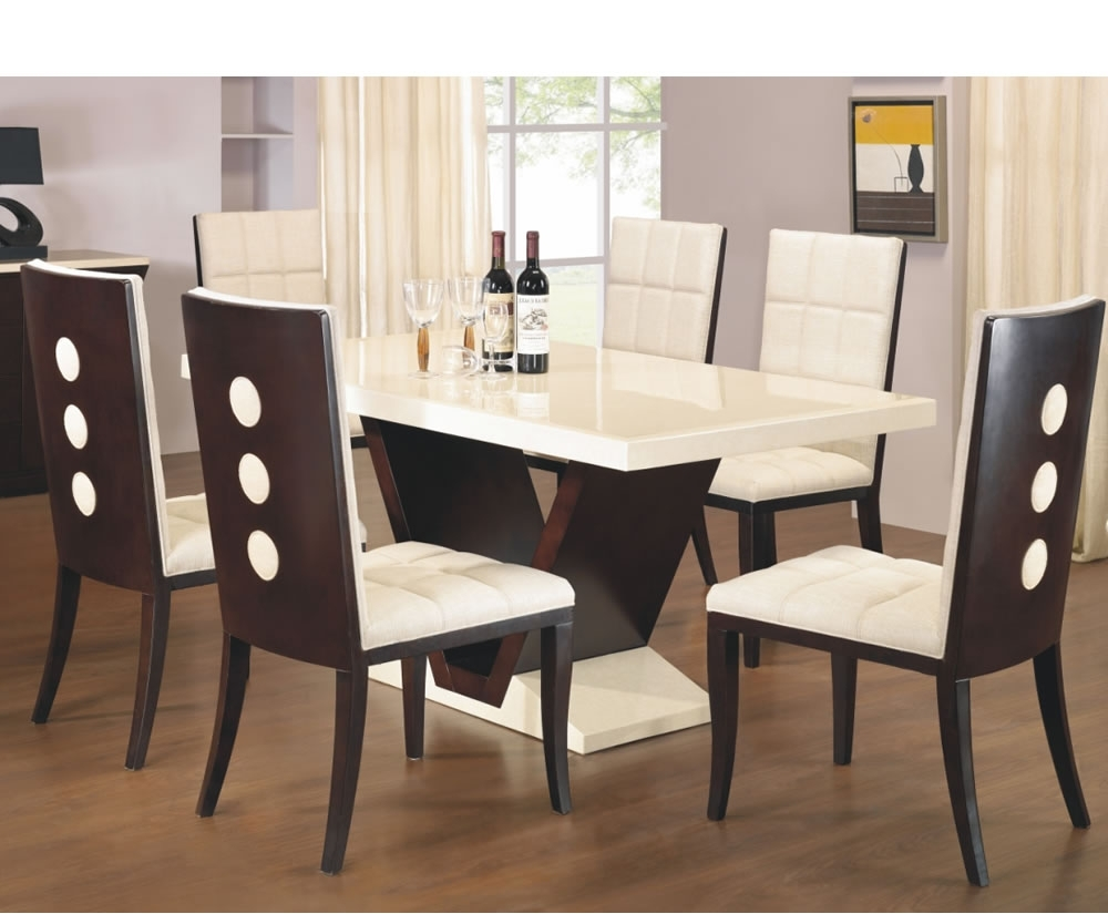 Arta Marble Dining Table And Chairs Leather And Wood Dining Chairs With Regard To Fashionable Marble Dining Tables Sets (View 11 of 25)