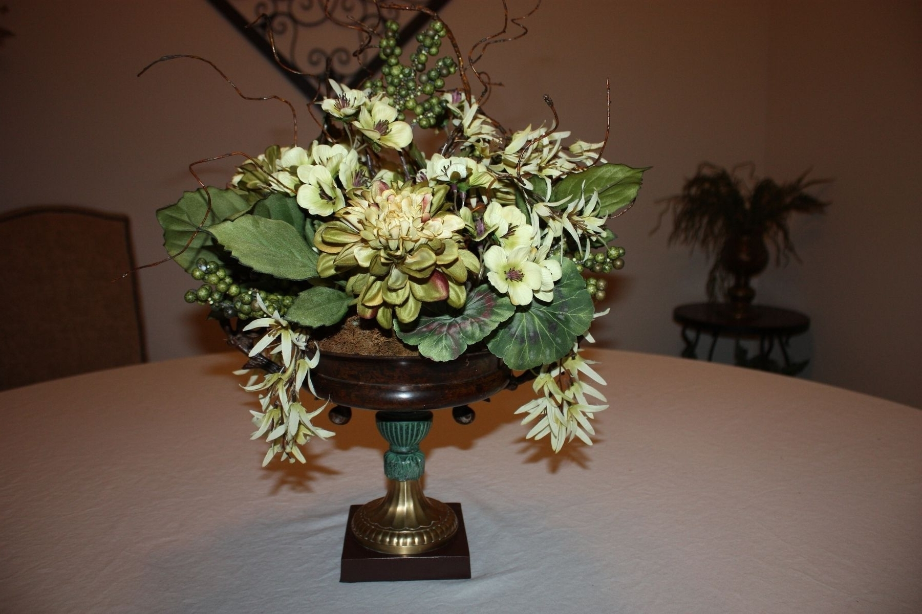 Artificial Floral Arrangements For Dining Tables Throughout Latest Hand Made Dining Table Centerpiece Silk Flower Arrangement, Home (Gallery 5 of 25)