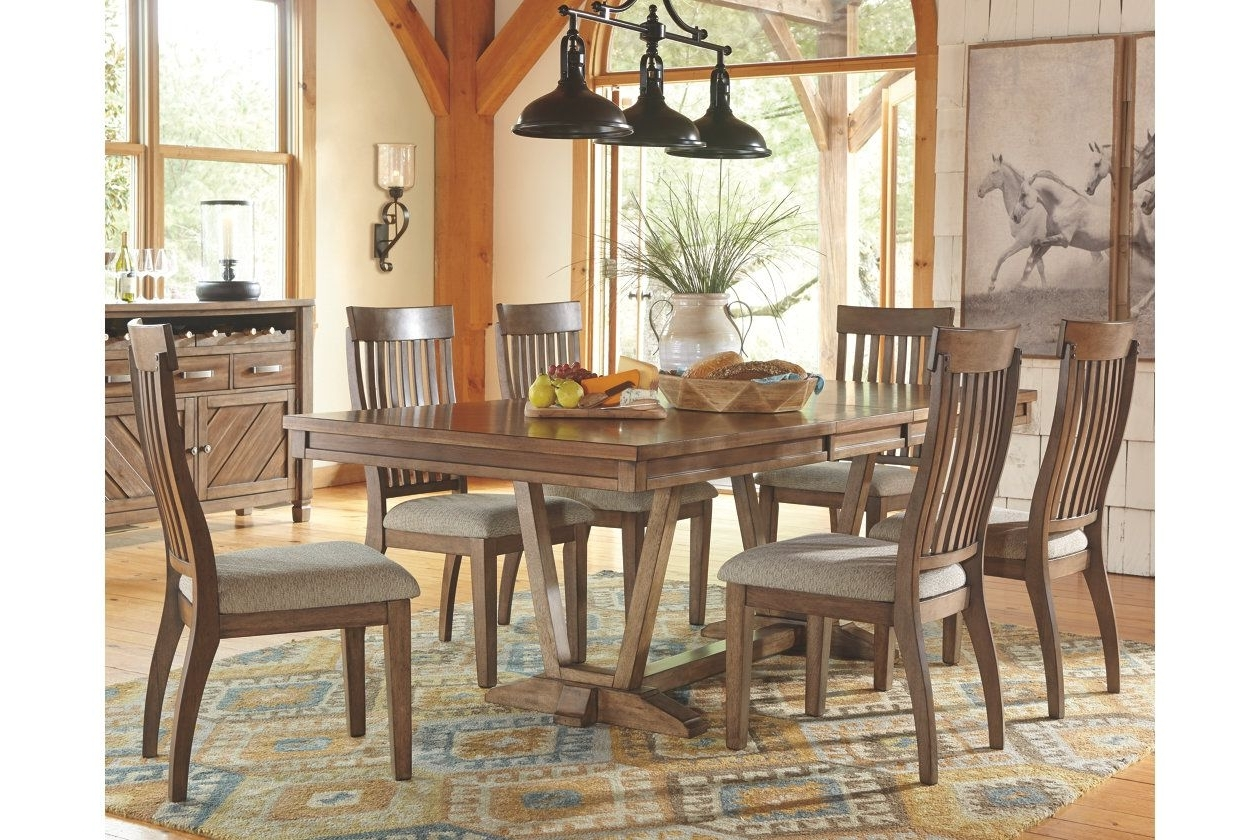 Ashley Within Laurent 7 Piece Rectangle Dining Sets With Wood And Host Chairs (View 3 of 25)