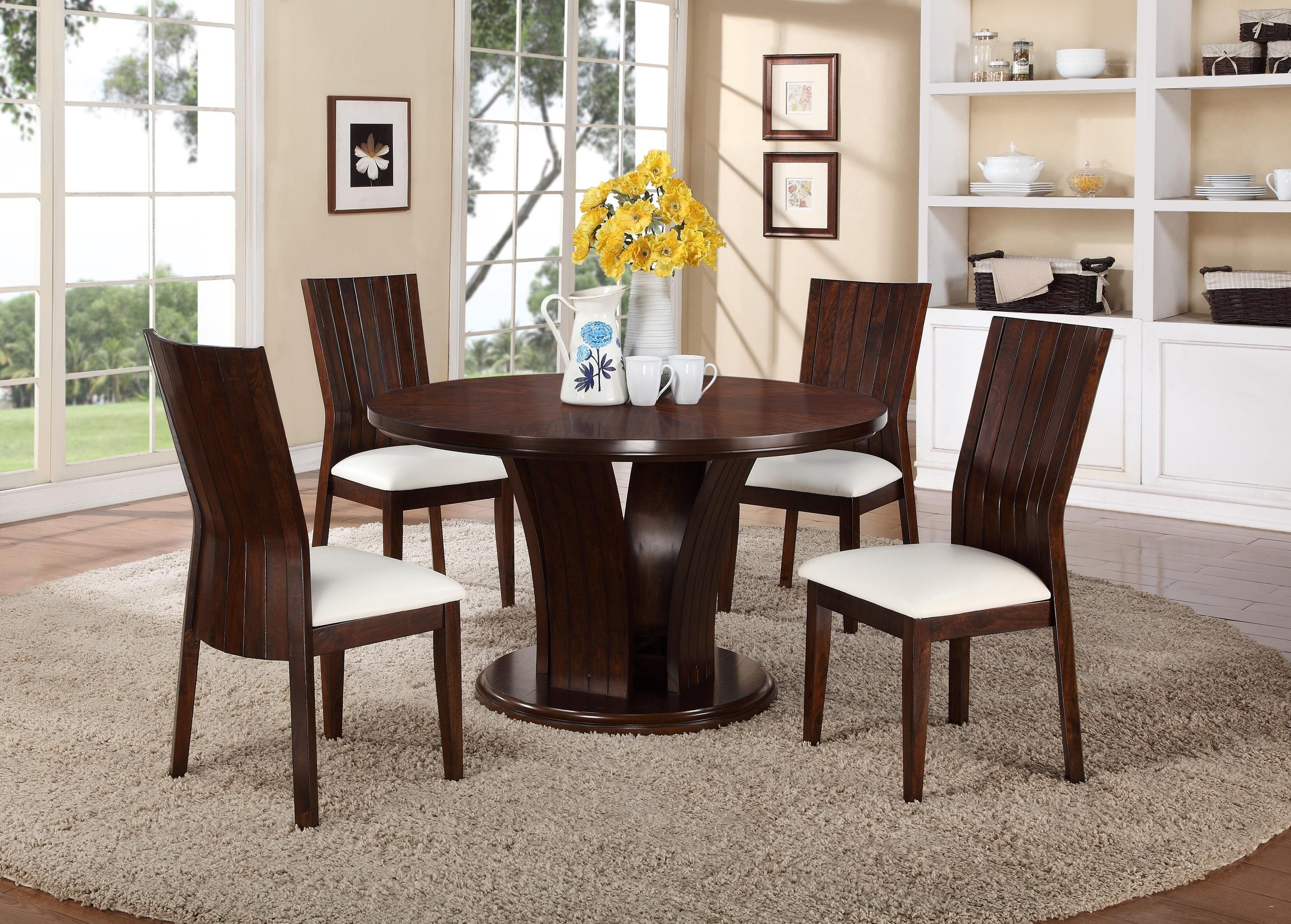 Ashton Round Pedestal Dining Table Elegant Kitchen Dining Area Throughout Most Popular Jaxon Grey 5 Piece Round Extension Dining Sets With Wood Chairs (View 2 of 25)