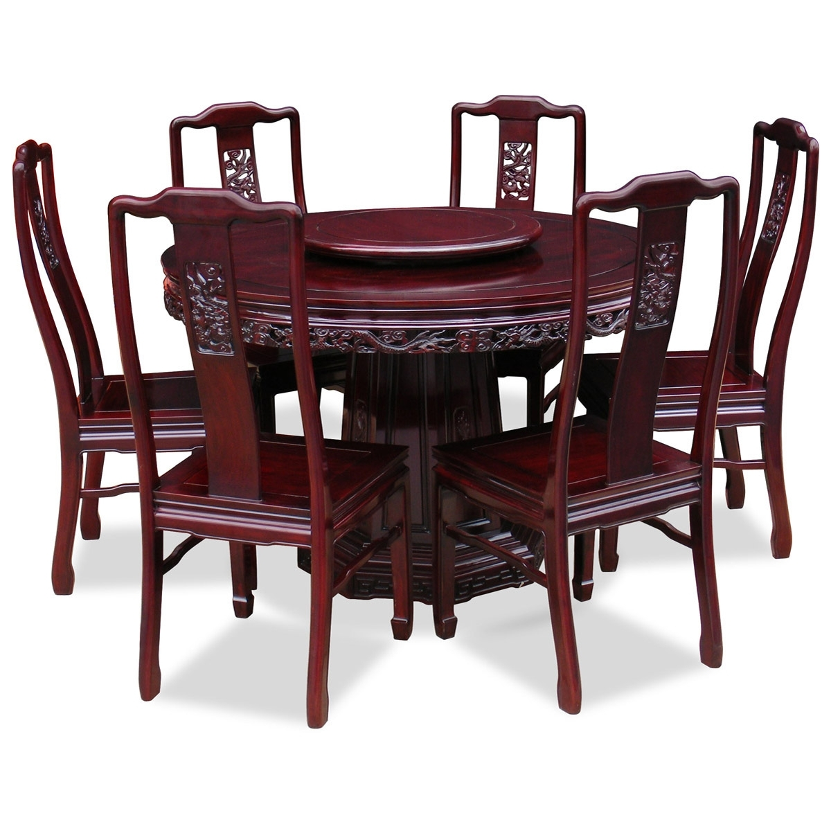 Asian Dining Tables Throughout Most Current 48In Rosewood Dragon Design Round Dining Table With 6 Chairs (View 21 of 25)