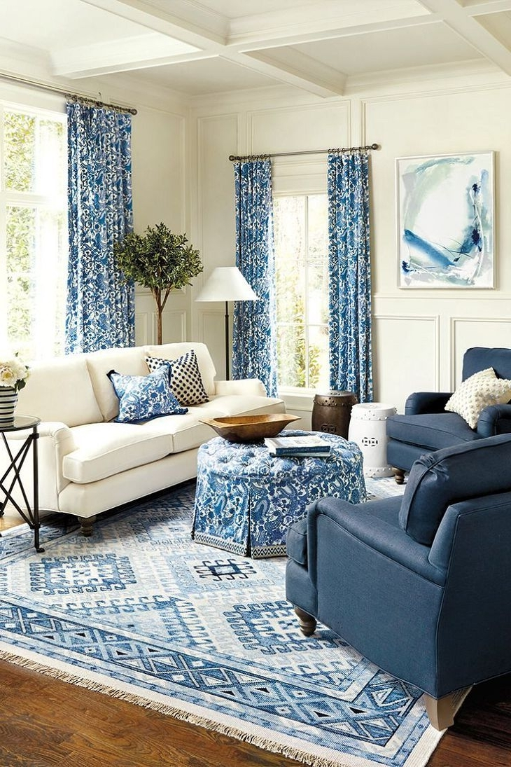 Astounding Blue Living Room Sets Chairs Sofa White Couch Dark Blue Intended For Latest Weaver Dark 7 Piece Dining Sets With Alexa White Side Chairs (View 5 of 25)