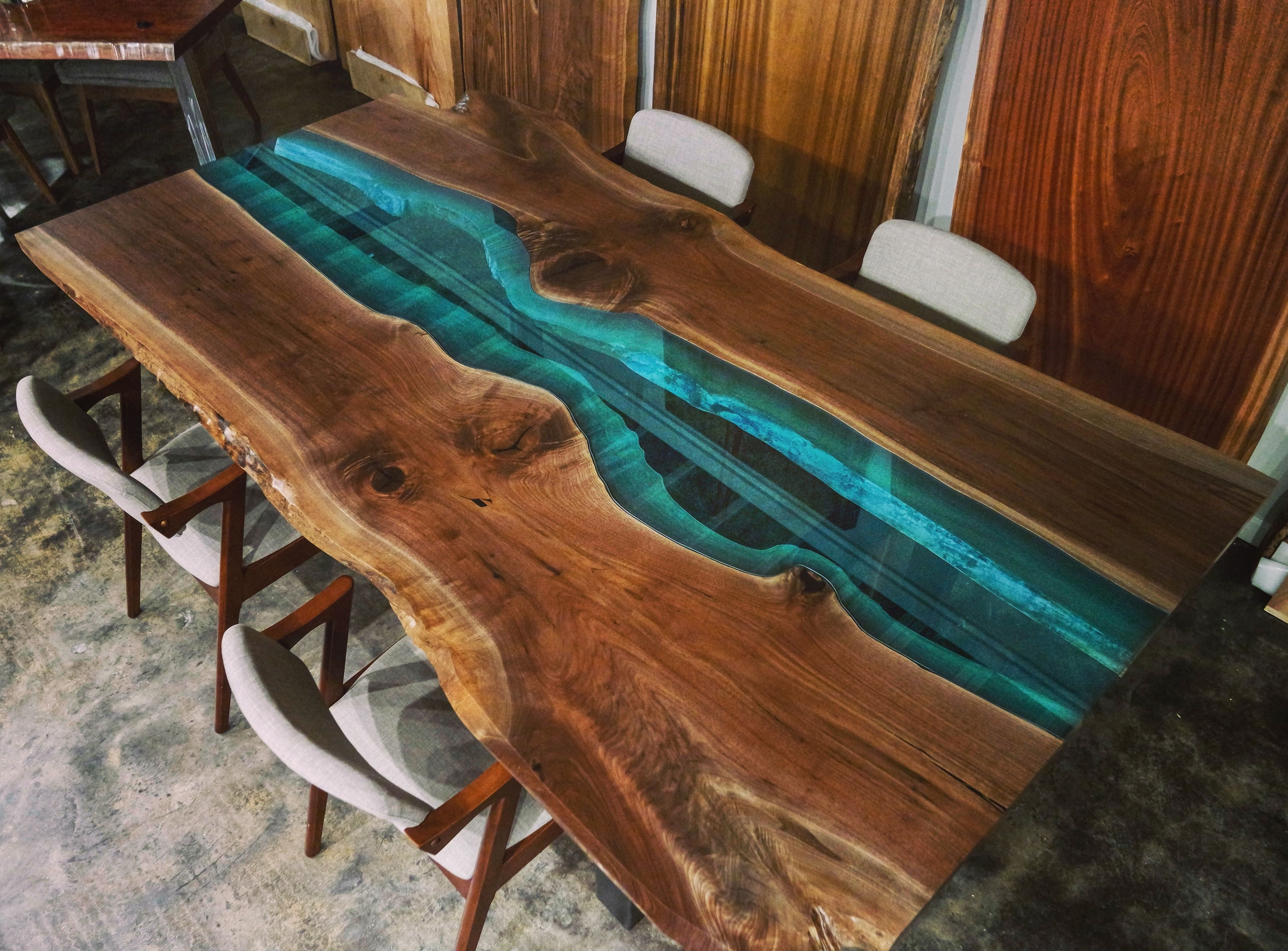 Available Now! Live Edge Bookmatched Walnut With Blue Glass River Regarding 2018 Blue Glass Dining Tables (Gallery 6 of 25)