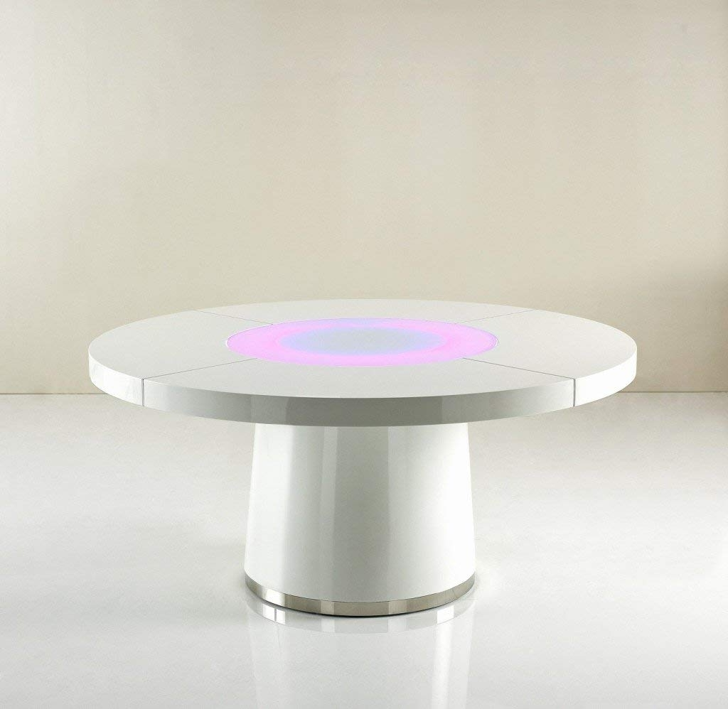 Avant Garde Large Round White Gloss Dining Table Glass Lazy Susan In Popular Dining Tables With Led Lights (View 2 of 25)