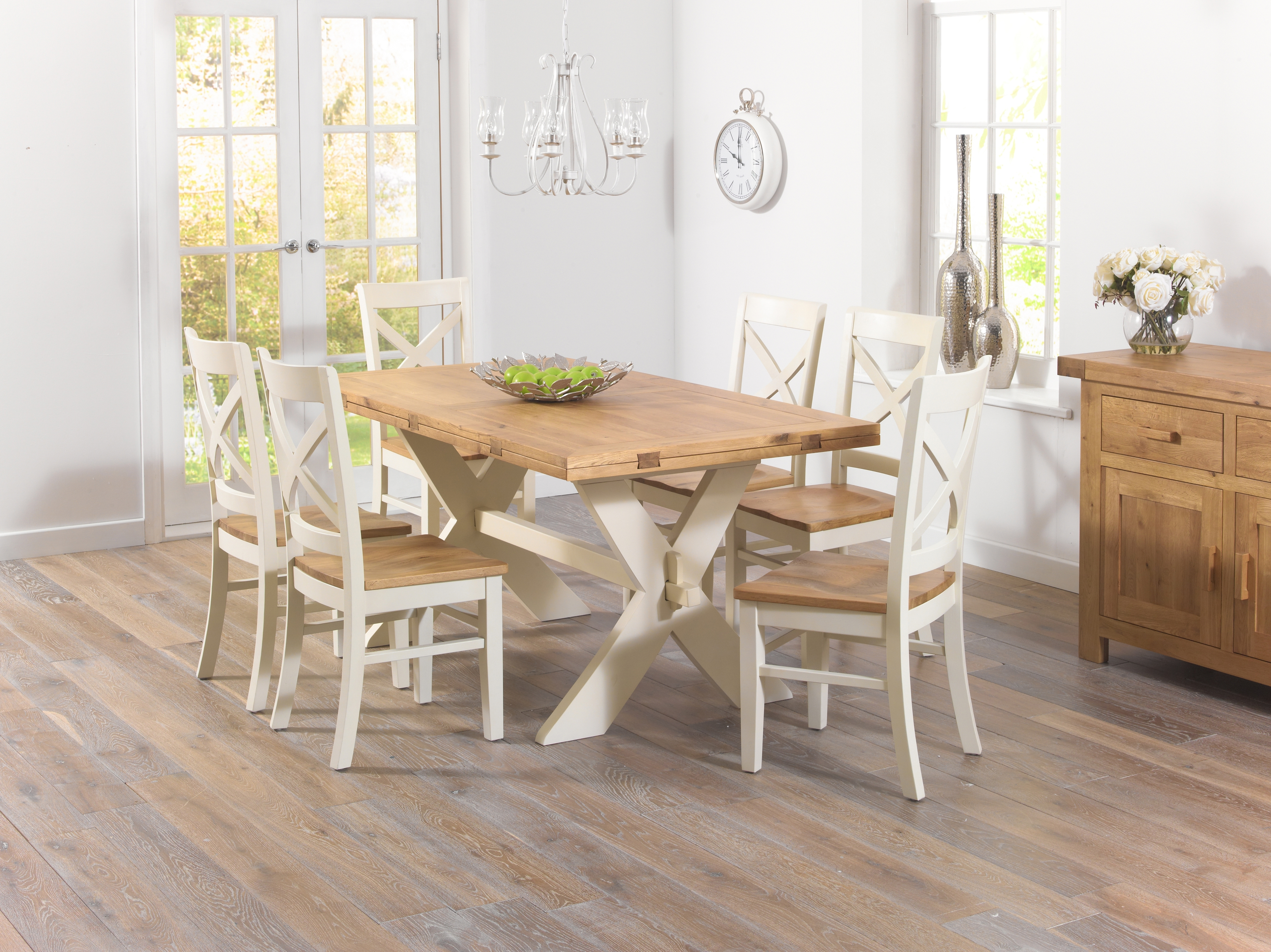Avignon Oak And Cream All Sides Dining Table + Cavana Chairs – £ (View 3 of 25)