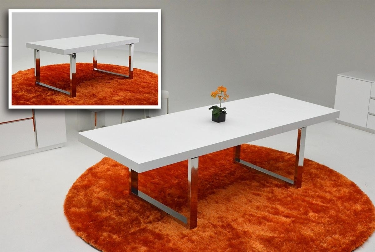A&x Skyline White Gloss Extendable Dining Table Within Preferred Red Gloss Dining Tables (View 10 of 25)