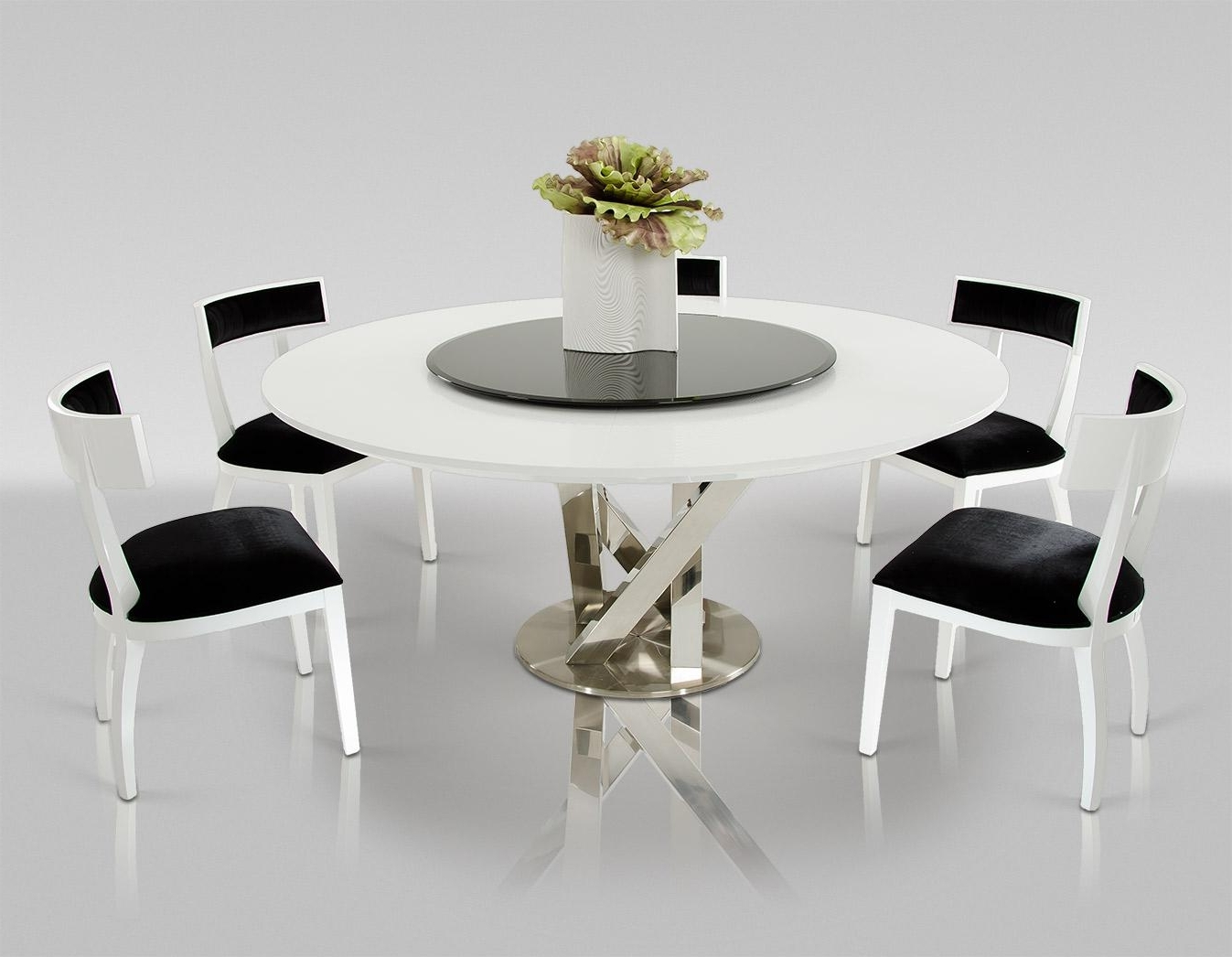 Ax Spiral Modern Round White Dining Table With Lazy Susan Dining Set With Regard To Current Contemporary Dining Room Tables And Chairs (View 24 of 25)
