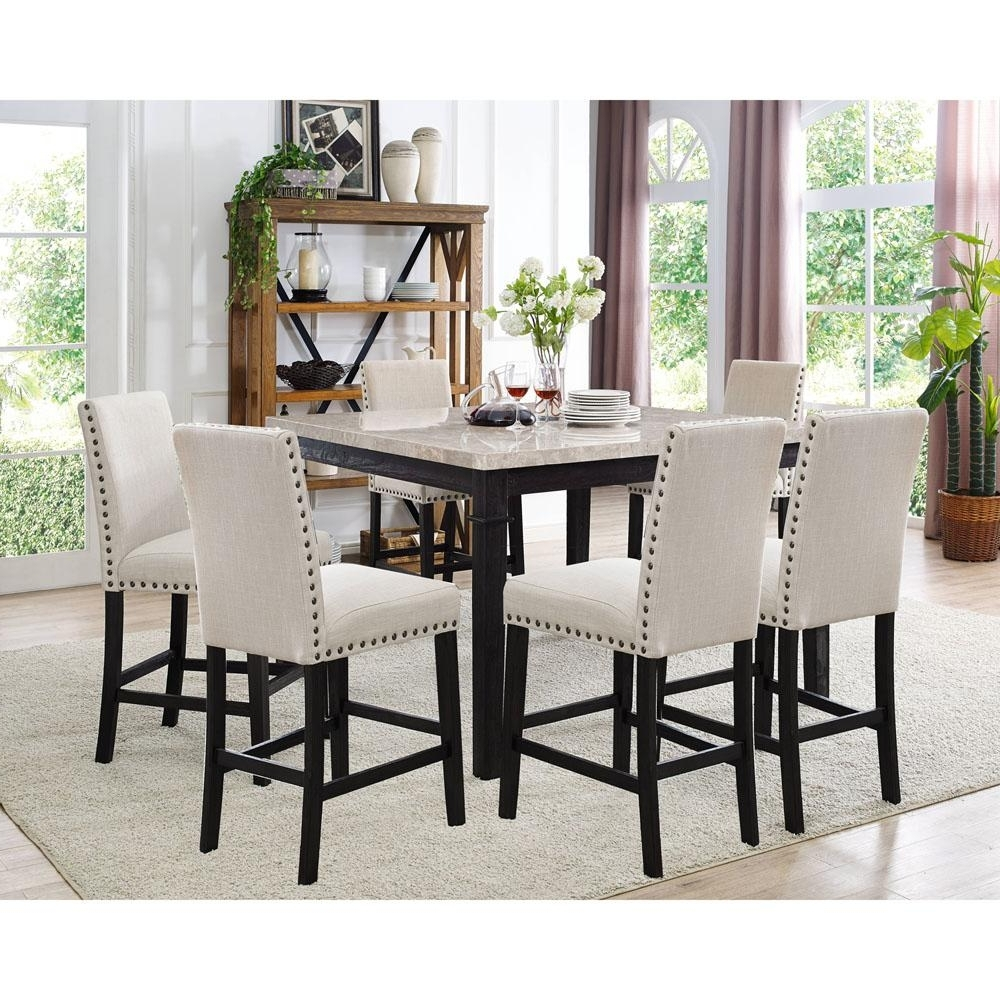 Azul 7 Piece Espresso And Ivory Dining Set: Marble Table And 6 Within Favorite Dining Tables And Fabric Chairs (View 8 of 25)