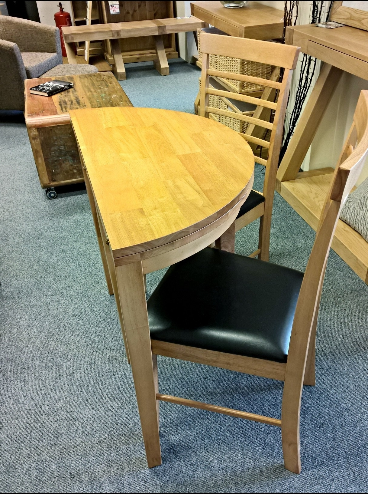 Babett Half Moon Extending Dining Table With 2 Chairs Set In Widely Used Half Moon Dining Table Sets (View 4 of 25)