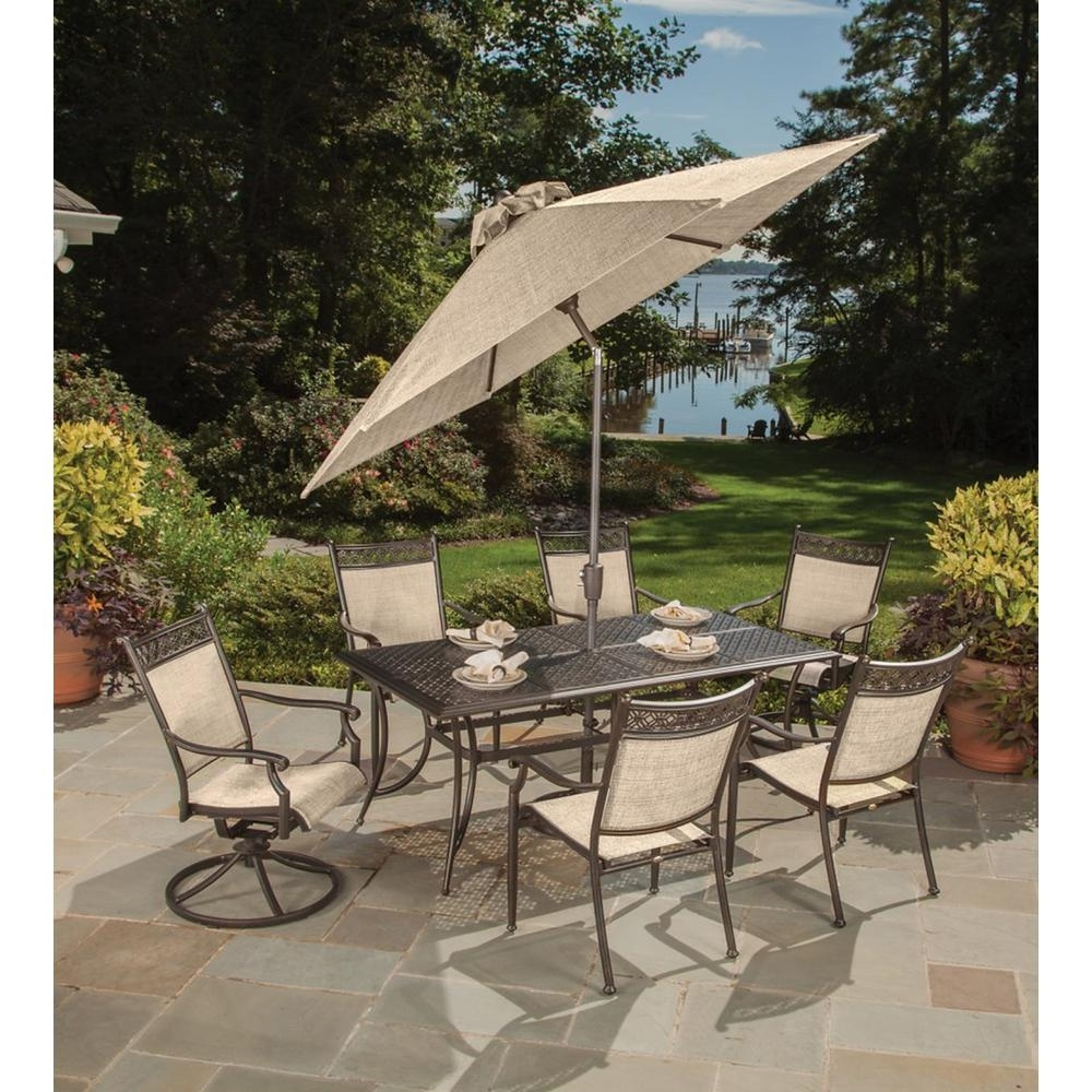 Bali 9 Piece Aluminum Metal Outdoor Dining Set And Umbrella Hd3026T With Regard To Most Up To Date Bali Dining Sets (View 4 of 25)