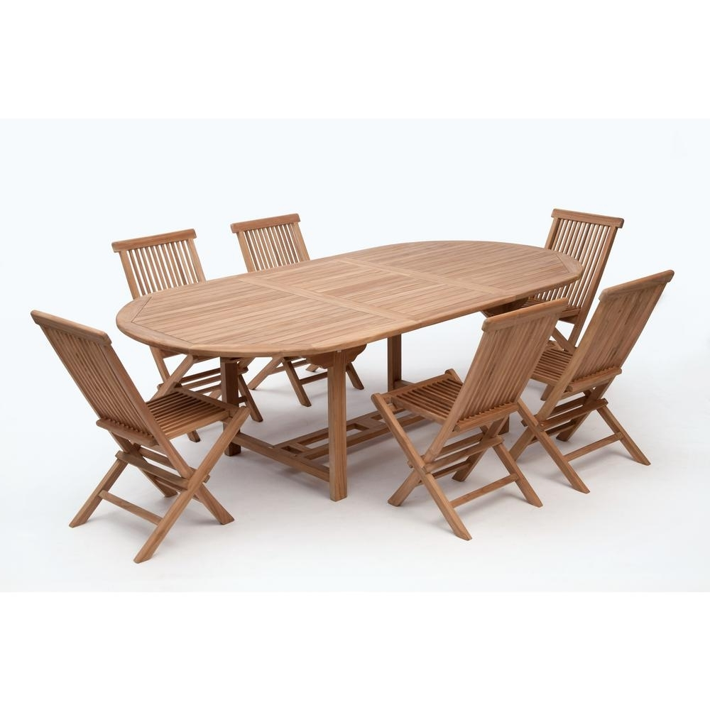 Bali Dining Tables Throughout Popular Bali Brown 7 Piece Wood Oval Outdoor Dining Set Without Cushions (Gallery 13 of 25)