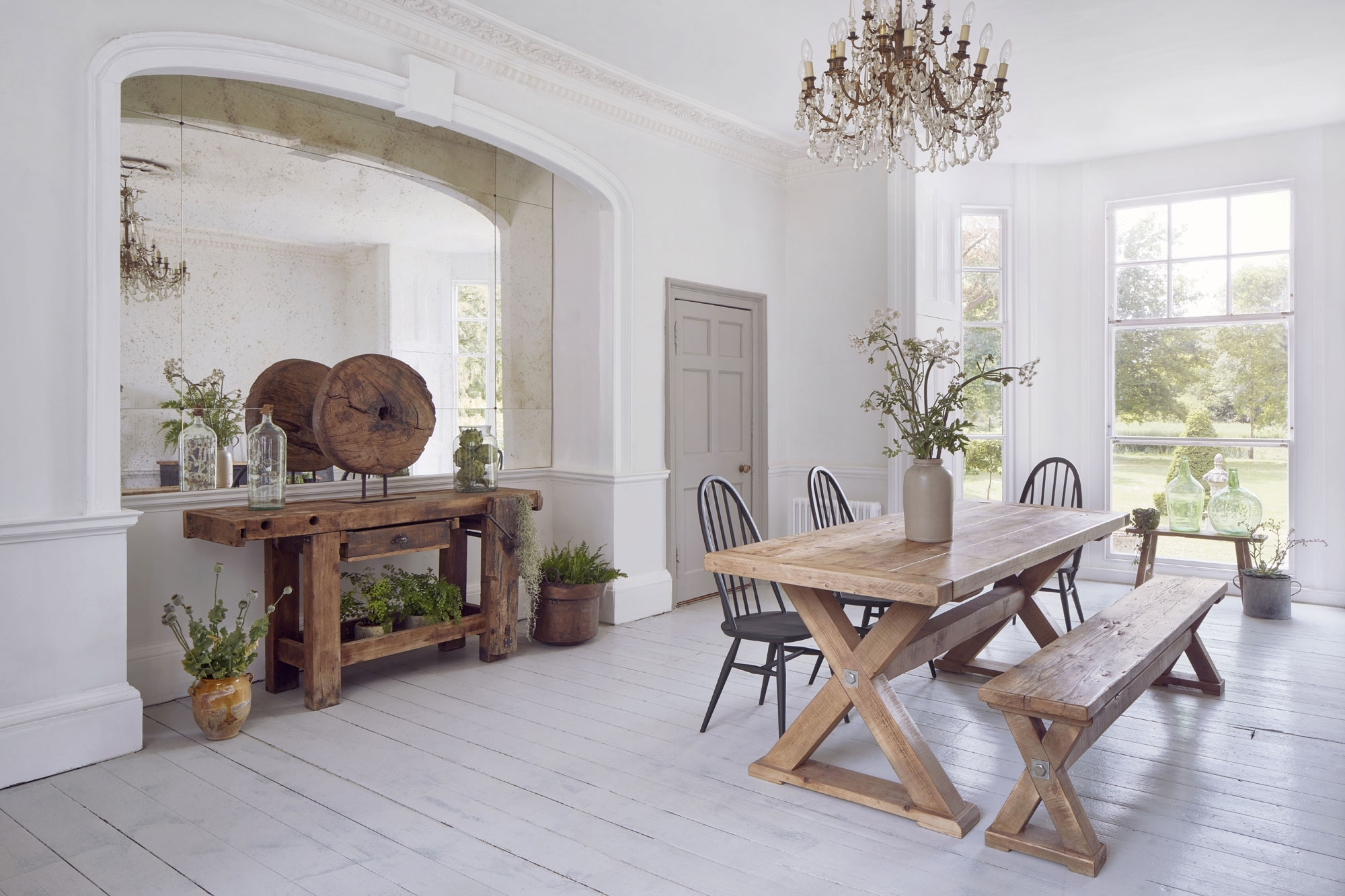 Barn House Dining Tables Pertaining To Well Liked Reclaimed Wood Plank Trestle Dining Table (View 14 of 25)