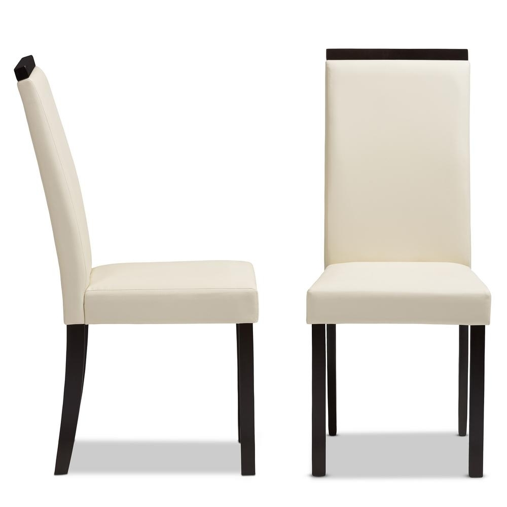 Baxton Studio Daveney Cream Faux Leather Dining Chair (Set Of 2) 143 Intended For 2017 Cream Faux Leather Dining Chairs (View 5 of 25)