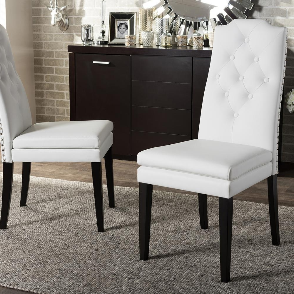 Baxton Studio Dylin White Faux Leather Upholstered Dining Chairs Within 2017 White Leather Dining Chairs (Gallery 23 of 25)