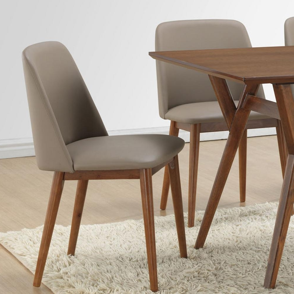 Baxton Studio Lavin Beige Faux Leather Upholstered Dining Chairs Intended For Recent Real Leather Dining Chairs (View 15 of 25)