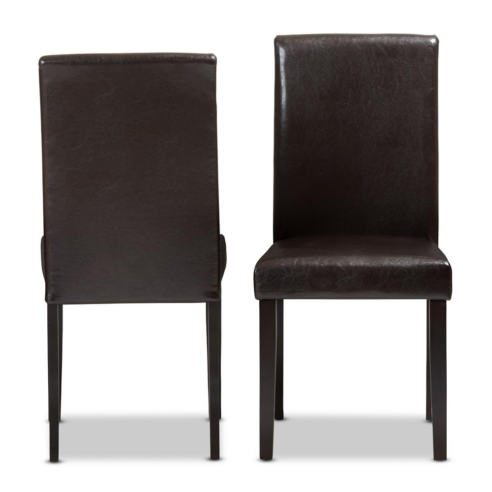 Baxton Studio Mia Dark Brown Faux Leather Dining Chair (Set Of 2 With Preferred Brown Leather Dining Chairs (Gallery 24 of 25)