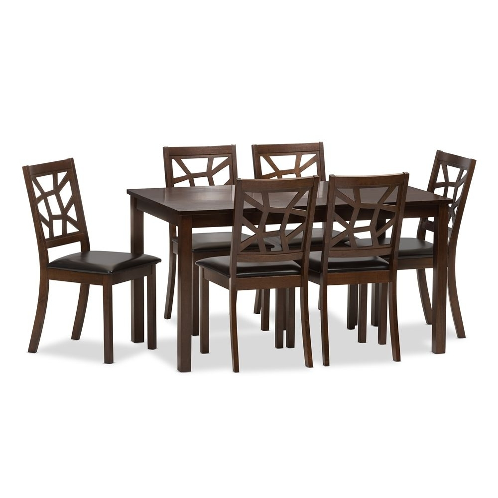Baxton Studio Mozaika Wood And Leather Contemporary 7 Piece Dining Regarding Most Recent Craftsman 7 Piece Rectangular Extension Dining Sets With Arm & Uph Side Chairs (View 3 of 25)