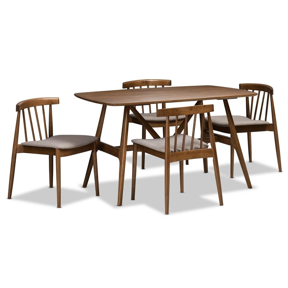 Baxton Studio Wyatt 5 Piece Beige And Walnut Brown Dining Set 8020 Pertaining To Famous Wyatt Dining Tables (View 5 of 25)