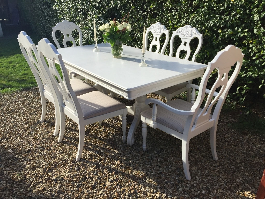 Beautiful Shabby Chic Painted French Inspired Dining Table & 6 With Regard To Well Known French Extending Dining Tables (View 18 of 25)