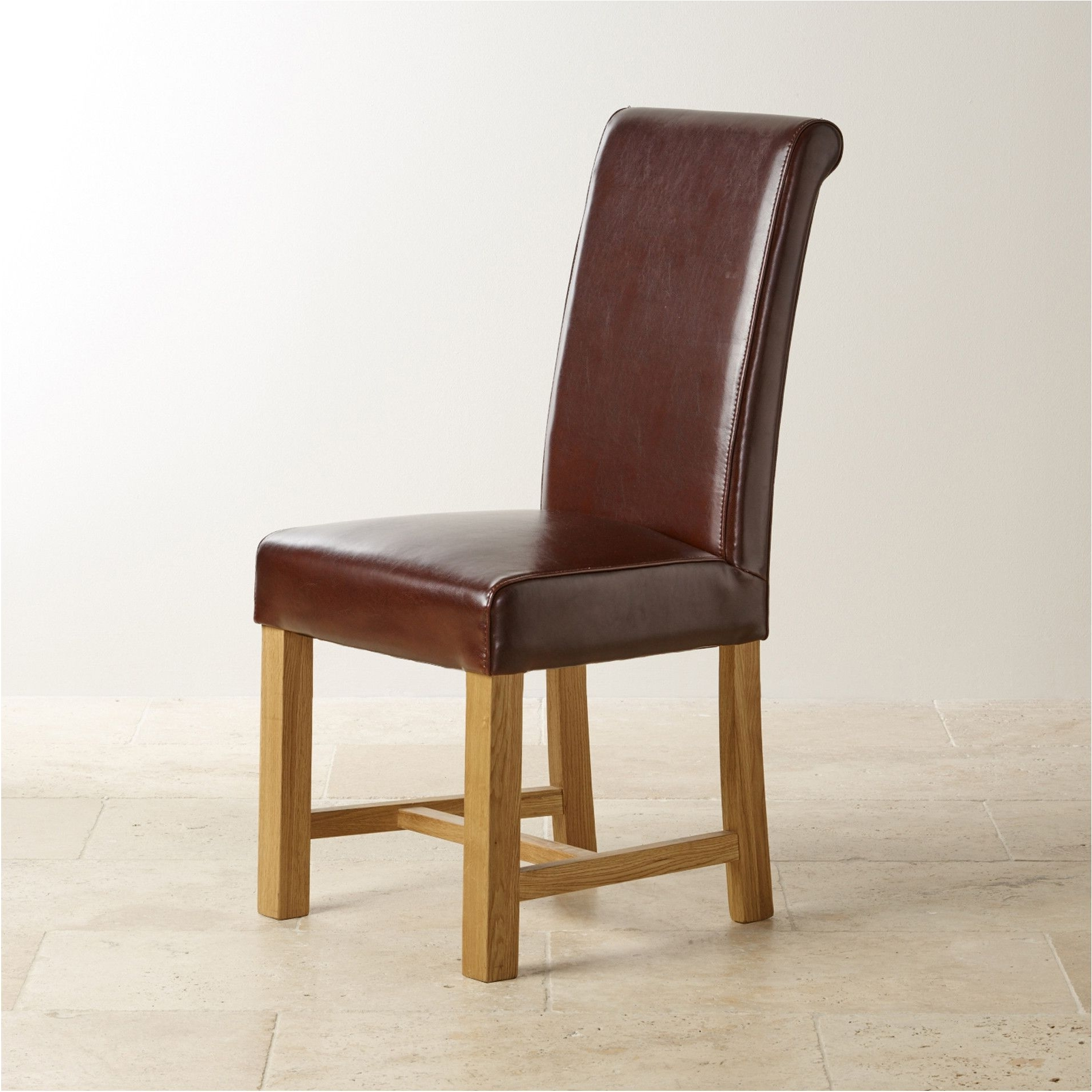 Beautifull Brown Leather Dining Chair With Braced Oak Legs Dining Regarding Famous Brown Leather Dining Chairs (View 17 of 25)