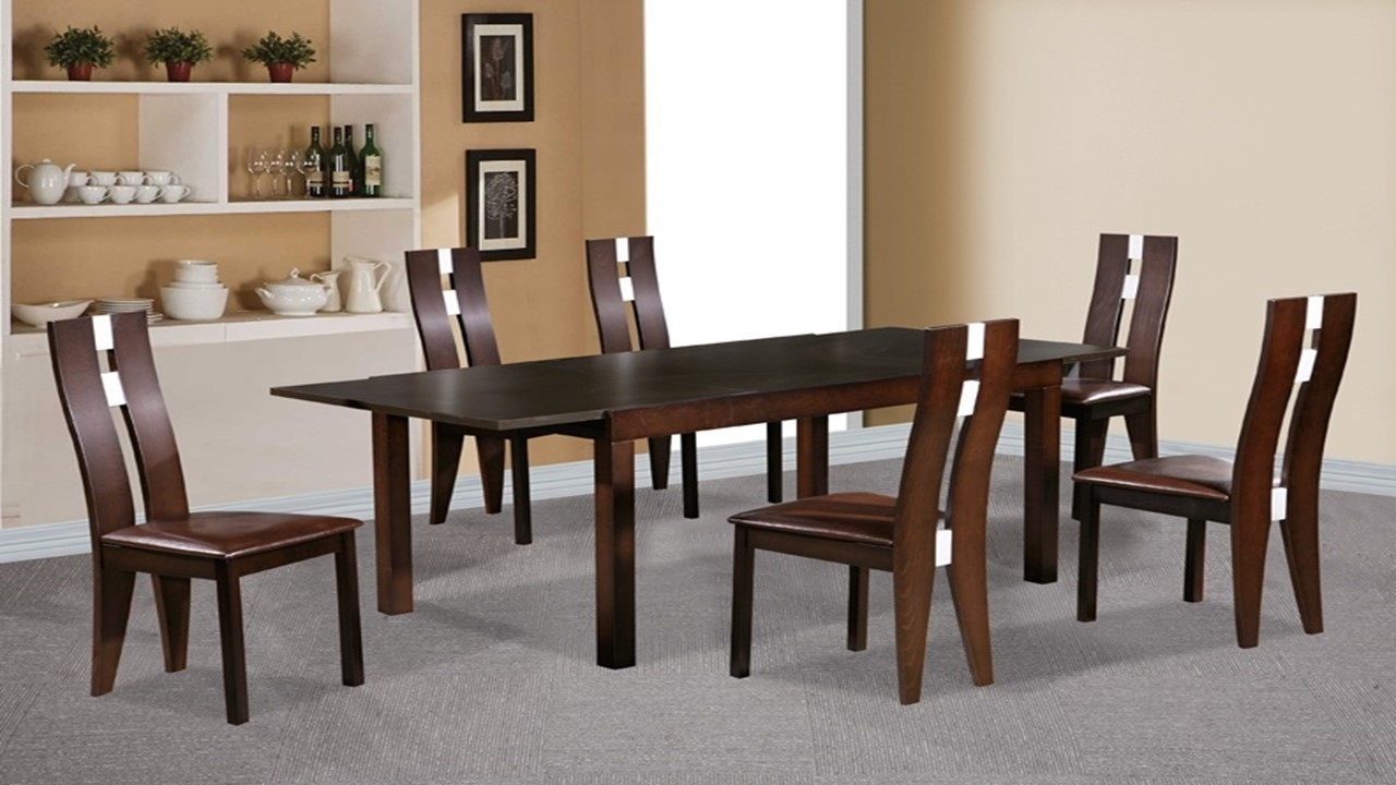 Beechwood Dining Table And 6 Chairs Dark Walnut – Homegenies For Fashionable Beech Dining Tables And Chairs (Gallery 16 of 25)