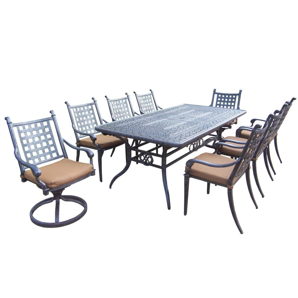 Belmont Extendable 9 Piece Rectangular Cast Aluminum Patio Dining Pertaining To Well Liked Outdoor Brasilia Teak High Dining Tables (View 5 of 25)