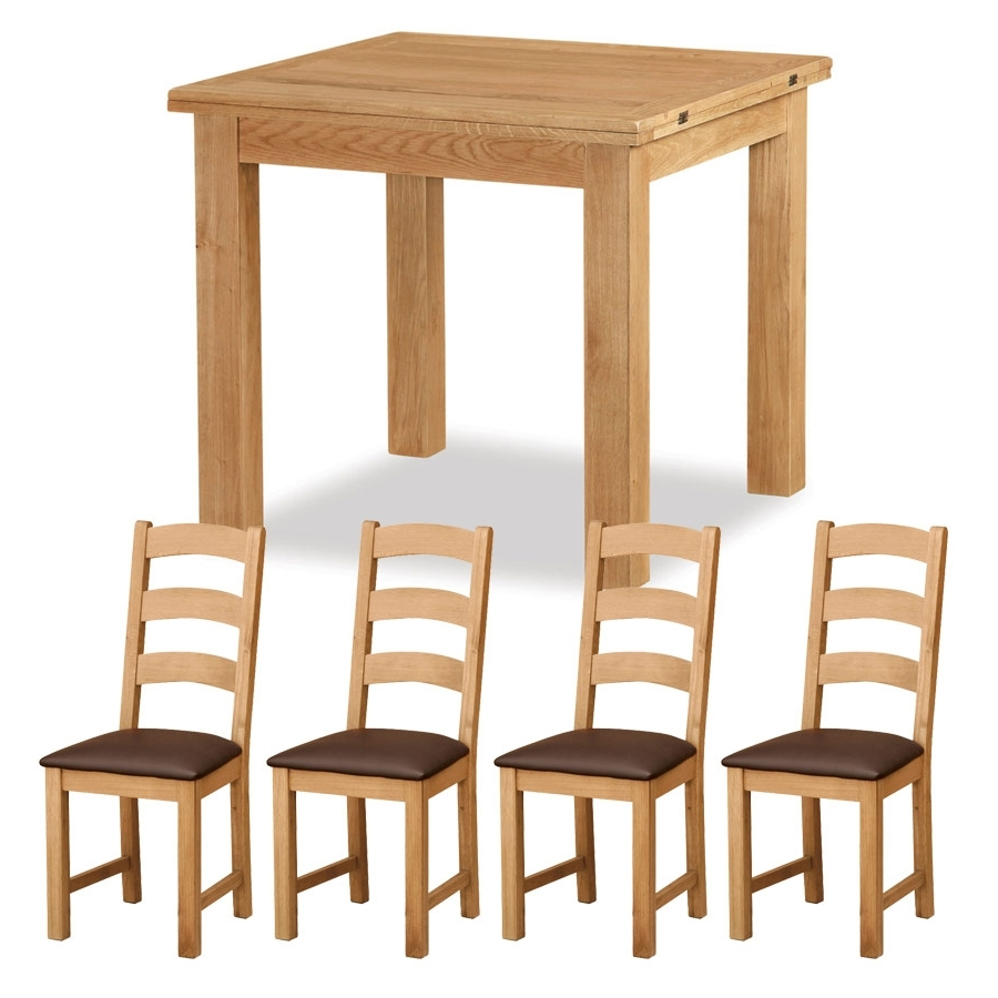 Belmont Oak 3Ft 0 Extending Dining Table With 4 Chairs Brown (View 22 of 25)