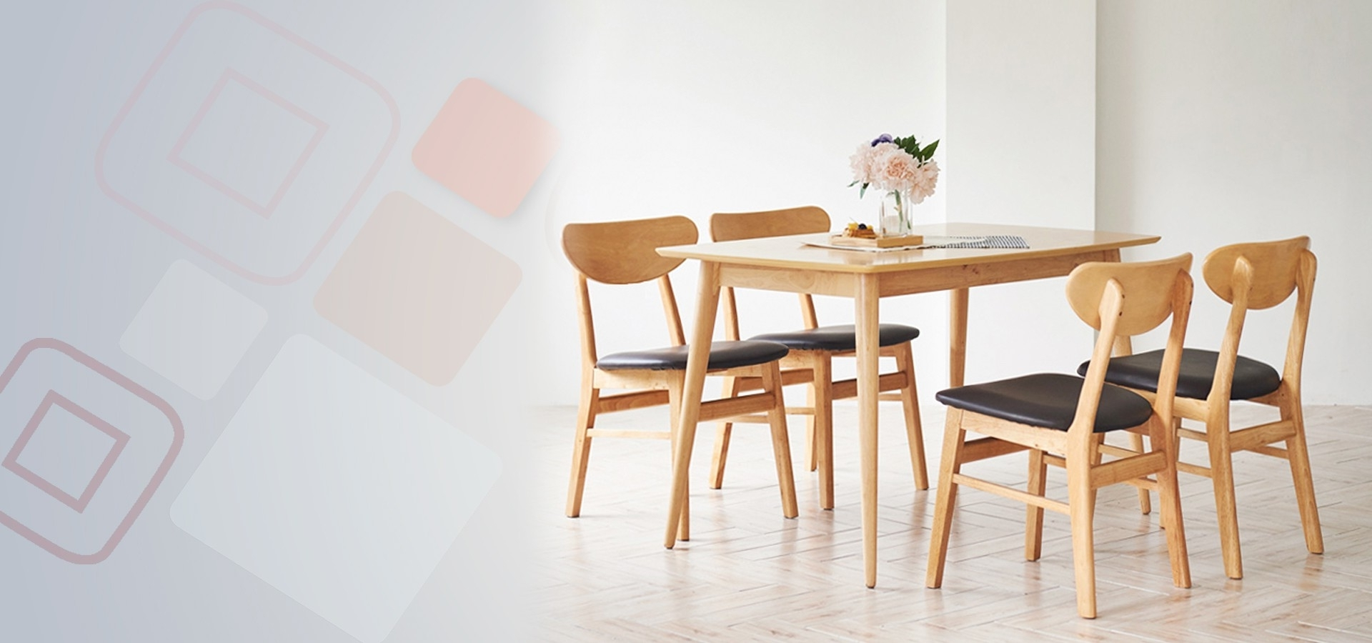 Benise Scandinavian Compact 4 Seater Dining Set 2 (1200) (Table & 4 For Well Liked Compact Dining Tables (View 5 of 25)