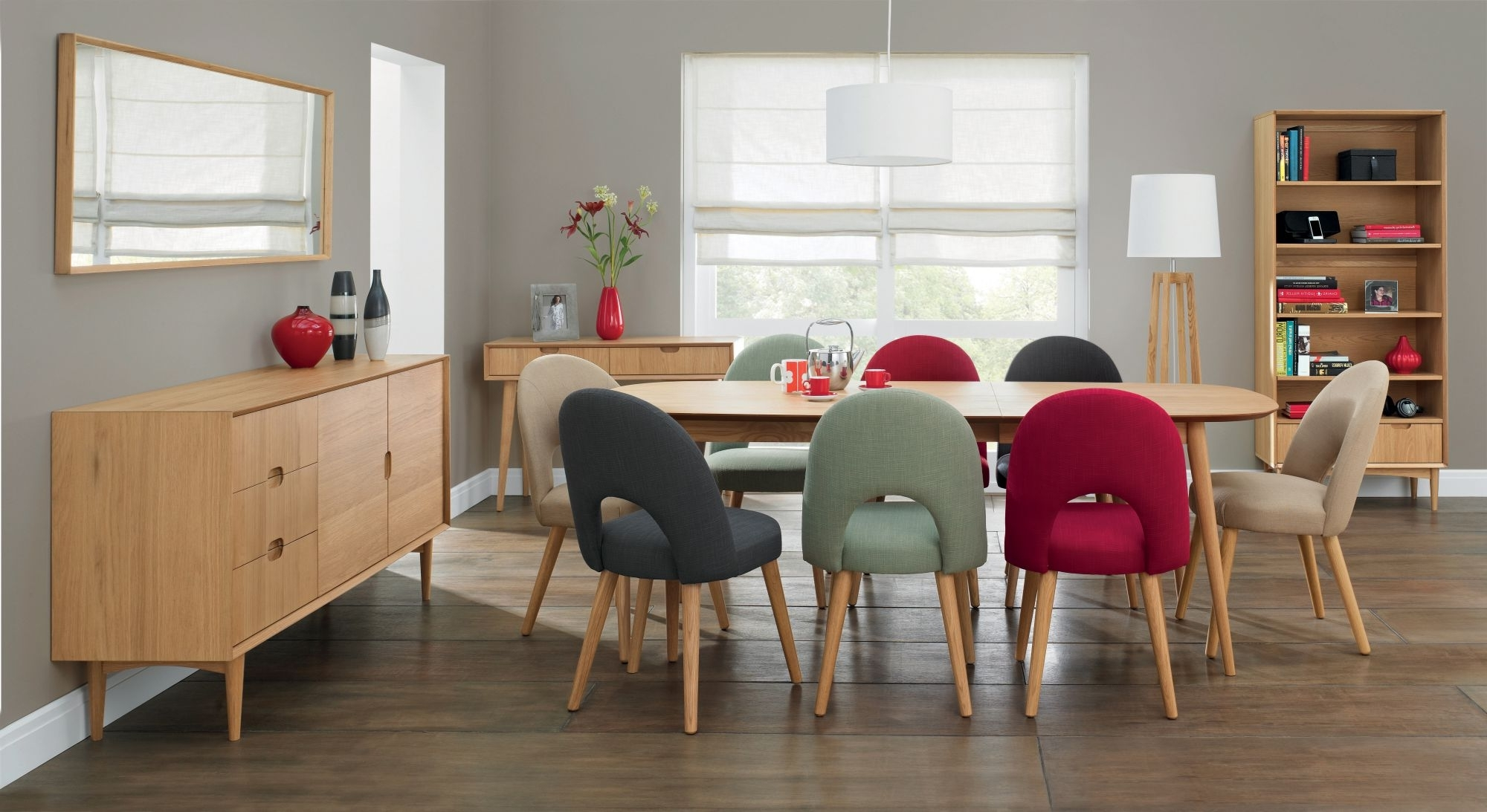 Bentley Designs Oslo Oak 6 Seater Dining Table & 6 Stone Fabric Intended For Trendy Oak 6 Seater Dining Tables (Gallery 17 of 25)